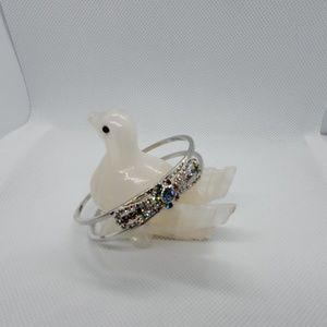 Silver Rhinestone Bow Bracelet